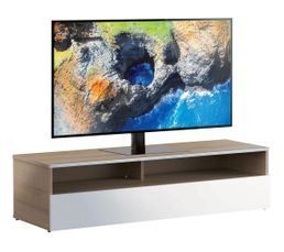 Meuble TV L.120 cm NACKA Bois clair/blanc