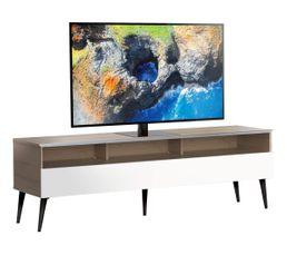 Meuble TV L.160 cm NACKA Bois clair/blanc