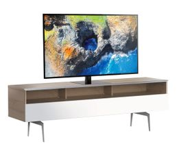 Meuble TV L.160 cm VERONA Bois clair/blanc