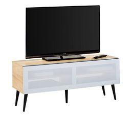 Meuble TV L120cm KYLIAN Porte acoustique gris/chêne