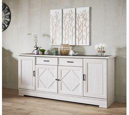 Buffet 4 portes 2 tiroirs CAMILLE Chêne blanc/gris