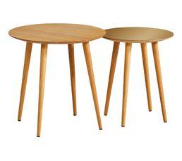 Table basse ronde gigogne LOLA Chêne/ or