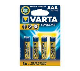VARTA Piles Alcalines LR03 4103101414 x 4
