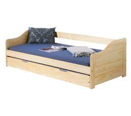 Lit gigogne 90x200 cm ELA en bois naturel