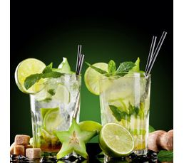 Tableau en verre 30x30 deco glass double mojito toiles but for Tableau en verre imprime