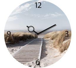 TIME ART Horloge en verre 30x30 cm Bleu