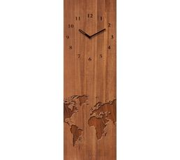 TIME ART Horloge en verre 20x60 cm Marron