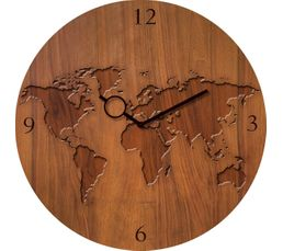 TIME ART Horloge en verre D.30 cm Marron