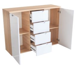 Buffet 2 portes 4 tiroirs ROY Blanc et chêne