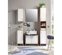Meubles de salle de bain 5 meubles  blanc et chêne MADERE
