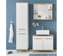 colonne de salle de bain palaos scandinave blanc et ch ne meuble de salle de bain but. Black Bedroom Furniture Sets. Home Design Ideas
