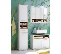 Miroir salle de bain 3 portes MAYOTTE avec LED - Meuble De Salle De ...