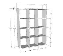 Étagère L.110 cm QUADRO 12 cases blanc béton