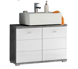 Adoptez un look design et originale dans votre salle de bain grâce à SANTORIN et son beau revêtement imitation béton Pratique grâce à ses grands placards de rangement Dispo pcs détachées donnée fournisseur : NC Structure : Panneaux de particules mélaminés