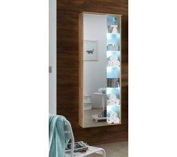 Colonne de salle de bain à suspendre HAITI blanc et chêne avec LED