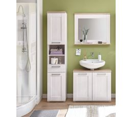 Colonne de salle de bain panama blanc et ch ne meuble de for Colonne salle de bain chene