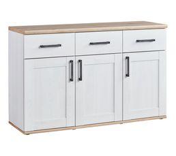 Buffet 3 portes 3 tiroirs ROMANCE imitation Pin/ imitation Chêne