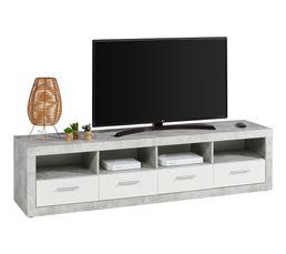 Meuble TV L.192 MATT imitation béton/ blanc
