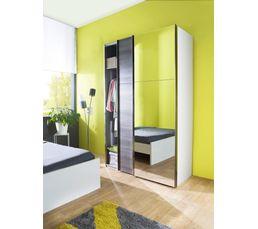 Armoire L. 150 cm miroir et SIGNATURE imitation chêne argenté MATRIX
