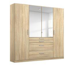 Armoire 4 portes 4 tiroirs L.181 cm PERLA imitation chêne