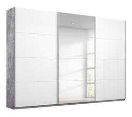 Armoire 3 portes L.271 cm MIAMI imitation béton et blanc...