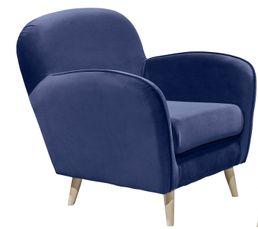 Fauteuil vintage CLUBY Tissu velours bleu