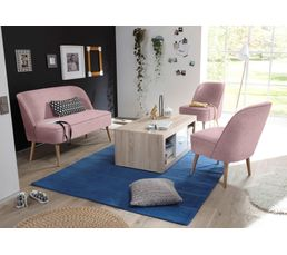 Canapé scandinave 2 places Tissu rose PINO