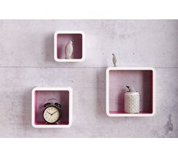 Set de 3 cubes muraux ON THE MOVE Blanc/Fuchsia