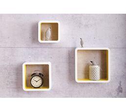 Set de 3 cubes muraux ON THE MOVE Blanc/Jaune