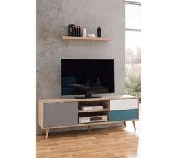 24dddcf180e1e4 Meuble TV scandinave ARUBA Chêne, gris, bleu et blanc - Meubles Tv BUT