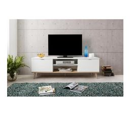 8cd07bb7fca684 Meuble TV scandinave LEKNES Blanc - Meubles Tv BUT