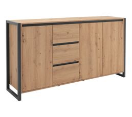 Buffet 3 portes 3 tiroirs HOUSTON Imitation chêne et gris
