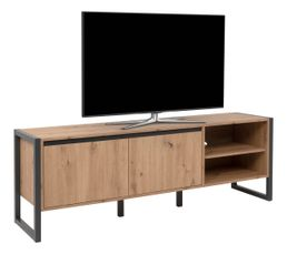 Meuble TV HOUSTON Imitation chêne et gris