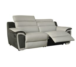 Canap 3 places 2 relax wow cuir micro gris clair canap s but - Reprise ancien canape ...