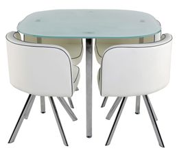 Table 4 chaises melo blanc tables but - Table de cuisine en verre ikea ...