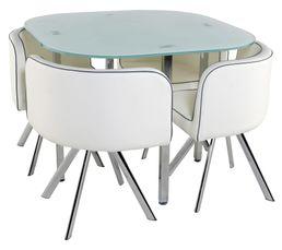 Moderne, design et compact, l'ensemble table et chaises MELO possède tous les atouts pour plaire ! Idéal pour les petits espaces ! Garantie : 2 ans , Pièces Piètement : Acier finition chromé pour la table et les chaises. Plateau : Verre trempé épaisseur 1