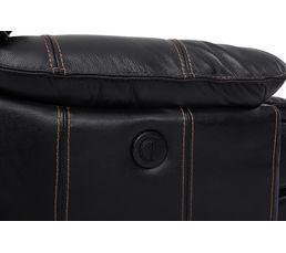 Fauteuil relax électrique LAND Cuir/croûte cuir noir