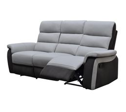 Canapé 3 places relax manuel WELTON Cuir/micro.Charbon/gris clair