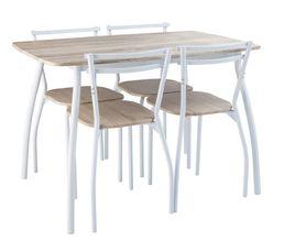L'ensemble table et chaises RICK vous séduira par sa simplicité et son petit prix ! Garantie : 2 ans , Pièces Rectangulaire : Table en métal finition finition epoxy blanc ép. 32mm. Plateau : fibres de moyenne densité ép. 15mm finition papier décor imitati