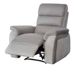 Fauteuil relax manuel WELTON Cuir Taupe/micro.gris clair