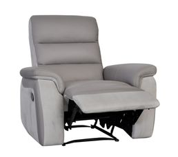 WELTON Fauteuil Relax Cuir Taupe/micro.gris clair