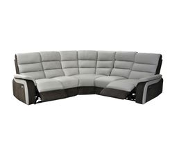 Canape D Angle 2 Relax Electrique Welton Cuir Gris Clair Micro