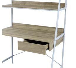 Bureau avec étagères SHELVI Imitation chêne / blanc