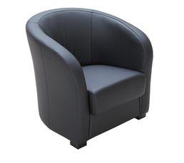 CLEVER Fauteuil Cabriolet Cuir/PVC Noir