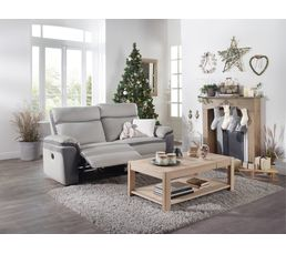 Canape 3 Places 2 Relax Manuel Willy Pu Et Microfibre Gris Clair