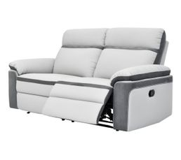 Canapé 3 places 2 relax WILLY PU/Microfibre Gris clair