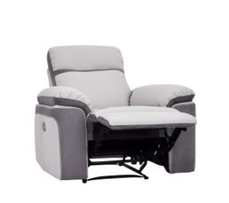 Fauteuil relax WILLY PU/Microfibre Gris clair