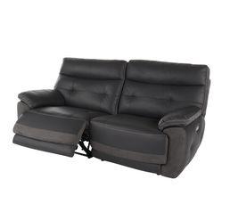 Canapé 3 places 2 Rlx élect. EDEN Cuir/croûte cuir Gris F/Gris C