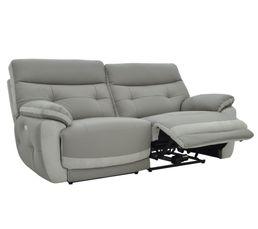Canapé 3 places 2 Rlx élect. EDEN Cuir/croûte cuir Taupe/Perle
