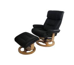 Fauteuil relax + repose-pieds EAGLE PU Noir